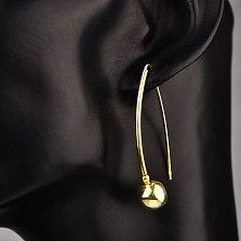 Серебряные серьги-протяжки Зеркальные шары, покрытые желтым родием