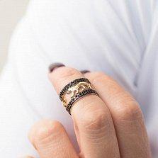 Золотое кольцо Прайд в желтом цвете с черными фианитами на двойной шинке