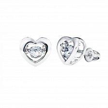 Серебряные серьги-пуссеты Сердце большое с танцующими белыми фианитами, 9x10мм