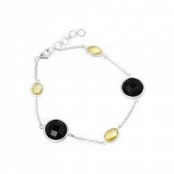Серебряный браслет с цитрином и черным ониксом 000082015