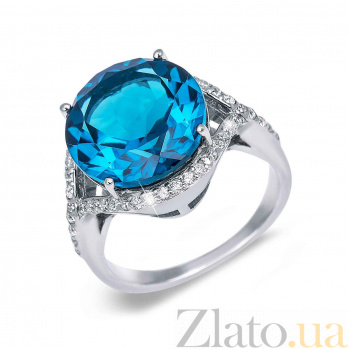 Кольцо серебряное с голубым кварцем Аскания AQA--R01641Qlb