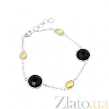 Серебряный браслет Джакарта с цитрином и черным ониксом 000082015