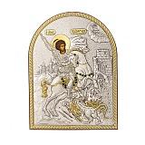 Икона с серебром Святой Георгий Победоносец с инкрустацией