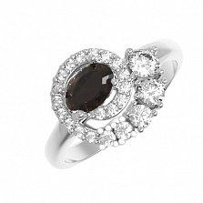 Серебряное кольцо Галактика с раухтопазом и фианитами