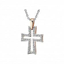 Крестик из красного золота Элегантность с бриллиантами