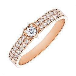 Золотое помолвочное кольцо Сила сердца с фианитами 000101673