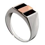Серебряное кольцо с золотой вставкой и ониксом Мужество