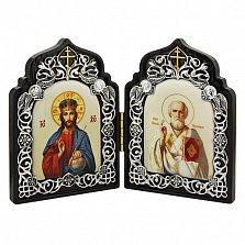 Серебряная икона-складень с образами св. Николая Чудотворца и Иисуса Христа