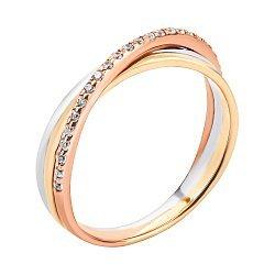Золотое кольцо в комбинированном цвете с цирконием 000134652