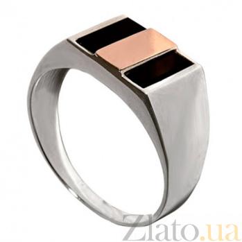 Серебряное кольцо с золотой вставкой и ониксом Мужество BGS--242к