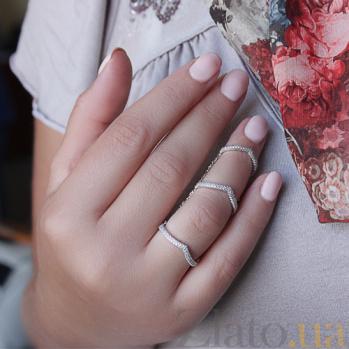 Кольца на три фаланги из белого золота с бриллиантами Эмилайн R-02266