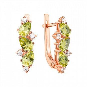 Серьги из красного золота с хризолитами и фианитами 000131046