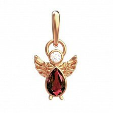 Кулон в красном золоте Ангелок с гранатовым и белым фианитами