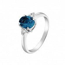 Серебряное кольцо Забвение с лондон топазом и фианитами