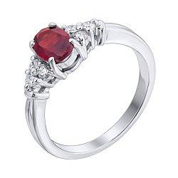 Серебряное кольцо с гранатом и фианитами 000140131