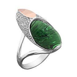 Серебряное родированное кольцо с золотой накладкой, имитацией малахита и фианитами 000102822