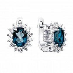 Серебряные серьги с топазами лондон и фианитами 000134863