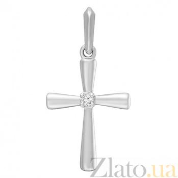 Золотой крестик Древние силы в белом цвете с бриллиантом  000045856