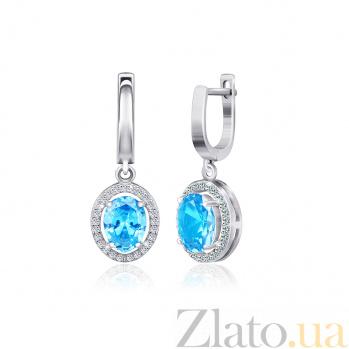 Серебряные серьги-подвески Девика с голубыми и белыми фианитами 000024598