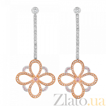 Серьги Argile с бриллиантами и розовыми сапфирами E-cjAr-W/R-26s-178d