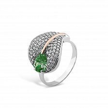 Серебряное кольцо Лилия с золотой накладкой, зеленым алпанитом и фианитами