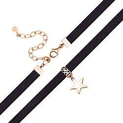 Шнурок из черной кожи с замком и подвеской-звездой из красного золота 000129960