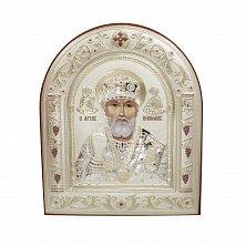 Православная икона Святой Николай на основе под дерево, гальванопластика, 16,7х22,4см