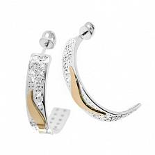 Серебряные сережки Арфа со вставками золота и фианитами