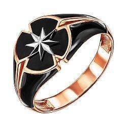 Золотой перстень-печатка в комбинированном цвете с черной эмалью 000137021