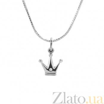 Детское серебряное колье Принцесса с фианитом 000080698