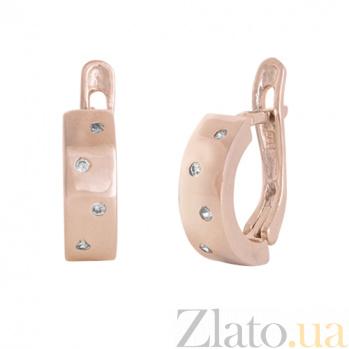 Позолоченные серебряные сережки с цирконием Брызги шампанского SLX--С3Ф/002