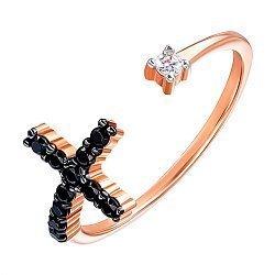 Золотое кольцо в комбинированном цвете с фианитами 000141712