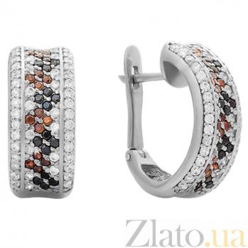 Серебряные серьги Россыпь с коньячными, черными и белыми фианитами 000032510