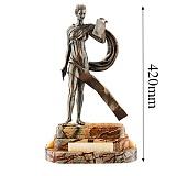 Бронзовая скульптура Каллиопа на подставке из яшмы и оникса