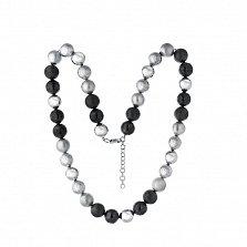 Серебряное ожерелье Шары с белым и черным родием