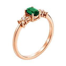Кольцо в красном золоте Дороти с изумрудом и бриллиантами
