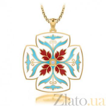 Крестик из желтого золота с бриллиантом Тайна: Источник 7284