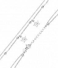 Серебряный многослойный браслет с подвесками-звездочками и фианитами в якорном плетении 000131578