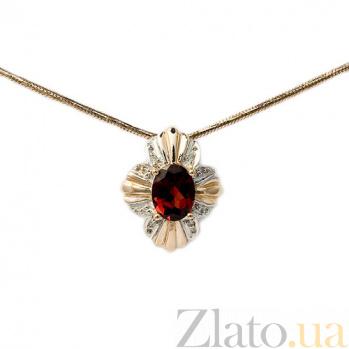Подвес из красного золота с бриллиантами и гранатом Флора 000021600