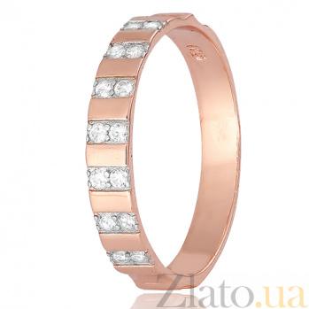Позолоченное серебряное кольцо Делакур с цирконием 000028415