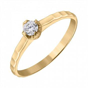 Кольцо из желтого золота с бриллиантом 0,18ct 000034643