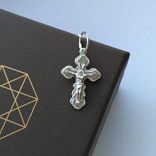 Крестик из серебра родированный Вера моя