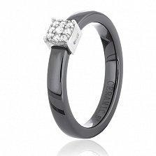 Керамическое кольцо Аридж с фианитами и серебром