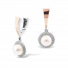 Серебряные серьги-подвески Каролина с золотыми накладками, имитацией жемчуга, фианитами и родием