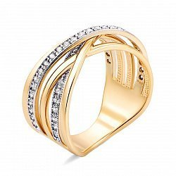 Кольцо из желтого золота с фианитами 000134977