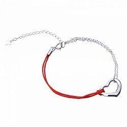 Серебряный браслет с шелковой нитью 000099320