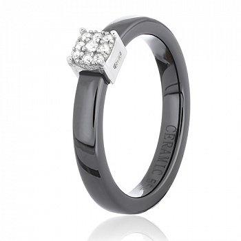 Керамическое кольцо Аридж с фианитами и серебром 000035148