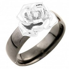 Кольцо из серебра и черной керамики Розина с фианитами