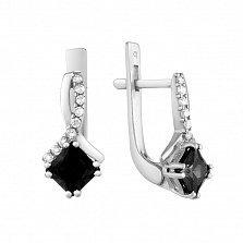 Серебряные серьги Кассиопея с чёрными и белыми фианитами