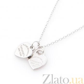 Серебряное колье Нежное сердце с розовой эмалью в стиле Тиффани 000079520